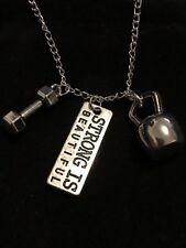 Fitness Gym Barbell Running Weight Lifting Motivational Charm Pendant Necklace
