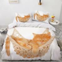 3D Woven Cradle Orange Cat KEP6396 Bed Pillowcases Quilt Duvet Cover Kay