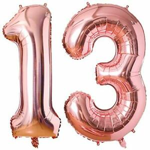 40 Inch Foil Number 13 Balloon Jumbo Number Balloon For Boy Girl 13Th Birthday A