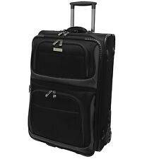 """Travelers Choice Conventional Black 22"""" Rugged Carry-On Rolling Luggage Suitcase"""
