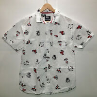 Resolution Clothing Mens Short Sleeve Button Down Shirt Size Large White
