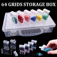 64 Grid Embroidery Painting Tool Plastic Jewelry Beads Drill Storage Box UKSTOCK
