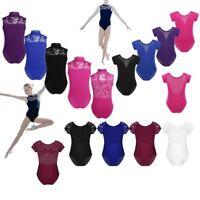 Girls Ballet Dance Gymnastics Leotards Stretchy Sports Short Sleeves Bodysuit