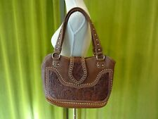 Montana West Concealed Carry Purse Brown Faux Leather/Real Leather EUC