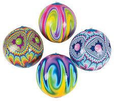 12x TIE DYE Inflatable BEACH BALLS - Hippie 60s Theme Luau Pool Party Favors NEW