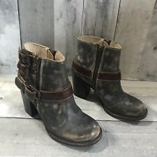 FREEBIRD By Steven Womens Bolo Gray Brown Distressed Buckle Ankle Boots Size 6