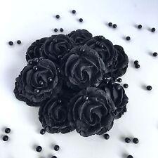Black Roses & Black Pearls Sugar Edible Gothic Flowers Funeral Cake Decorations