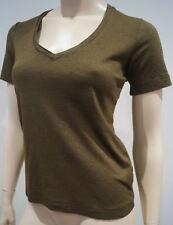 ISABEL MARANT Khaki Green Wool Silk Blend V Neck Short Sleeve Tee Sweater Top L