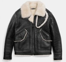 COACH Men's Leather Shearling Distinctively Distressed Bomber Coat XS