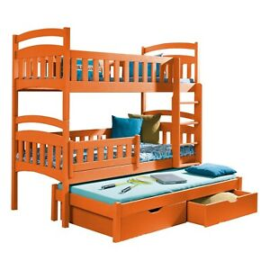 NEW Bunk Bed Triple Kids Sleeper MARIO 3 Solid Wood 2ft6 with Mattresses