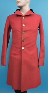1840'S HAND SEWN MEN'S RED RIDING / HUNTING JACKET W GOLD COIN BUTTONS