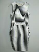 Oasis Striped Navy and White Fitted Dress Size 8 Nautical Pockets NWT Office