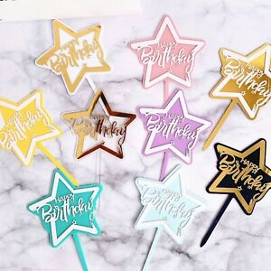 Happy Birthday Cake Toppers - Shooting Star Shape Acrylic Party Decoration Sign