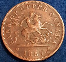 1857 Bank Of Upper Canada Penny Token   ID #A10-33