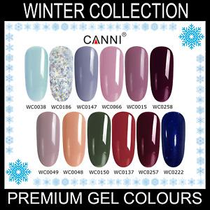 Winter Nail Gel Polish CANNI UV LED Set Colour Varnish Glitter Base Coat 7.3ml