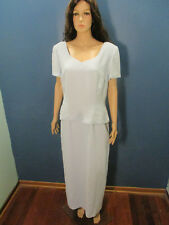 size 16 blue lined zip up two tiered formal rhinestone trim dress by DONNA MORGA