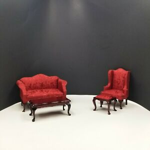 Dollhouse Miniatures Furniture Living Room Set Queen Anne Sofa and Chair Vintage
