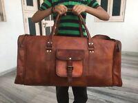 Large Leather handmade travel luggage vintage overnight weekend duffel Gym Bag