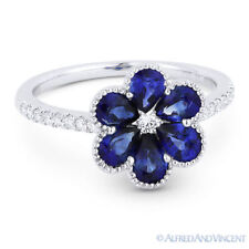 18k White Gold Right-Hand Flower Ring 1.76 ct Pear-Shape Sapphire & Diamond Pave