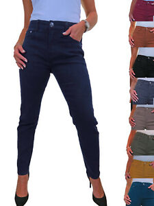 Womens High Waisted Slim Leg Stretch Denim Jeans Solid Colour 10-22