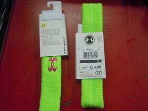 Under Armour Women's Hyper Green/Dark Pink UA Logo Performance Headband Sz OS
