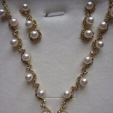 1 x Beautiful & Elegant Pearl Diamonte Necklace Set Silver & Gold Free Gift Box