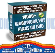 14000+ WOODWORK PRINTABLE PDF PLANS ON DVD - SHEDS TOYS BOATS FENCES GATES +MORE