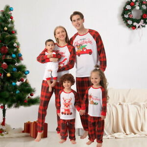 Christmas Parent-child Wear Printed Round Neck Long-sleeved Trousers Home wear