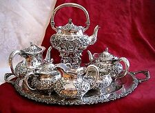 ANTIQUE REED & BARTON 1890 STERLING SILVER TEA COFFEE SET 6 PC RHETT FAMILY RARE