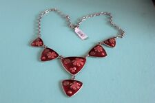 EQUIP 46 cm Silvertone Chain Necklace with 6 Red Enamelled Triangles  (B249)