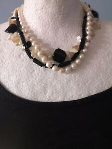 FRESHWATER BAROQUE & ROUND PEARL CORAL & BLACK ONYX MULTI-STRAND NECKLACE