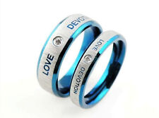 Men's Unisex Stainless Steel Ring Zirconia Love Devotion Blue Silver Size 10 L29