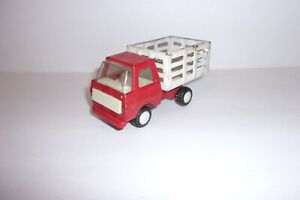 Vintage Mini Toy Farm or Cattle Truck Red with White Racks Japan