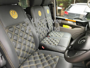 READY IN STOCK VAN SEAT COVERS TRANSPORTER T5  CHARCOAL YELLOW BENTLEY