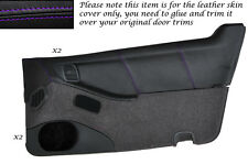 PURPLE STITCH 2X DOOR CARDS LEATHER SKIN COVERS FITS NISSAN 300ZX Z32 90-96