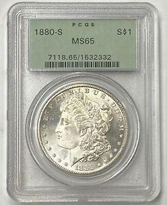 1880-S $1 Morgan Silver Dollar PCGS MS65 Amazing Quality Old Green Holder PQ++