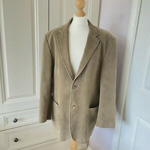 Men's Taupe Moleskin Blazer Jacket by Frank Eden 42R Casual Relaxed Dressed-Down