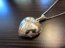 """925 Sterling Silver Signed VTG Italy 32"""" Chain w/3D 925 Vermeil Heart Locket 10g"""