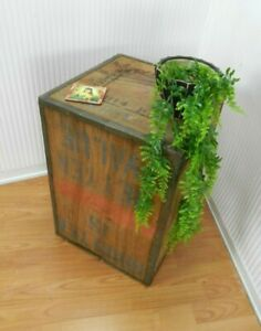 VINTAGE TEA CHEST BOX 1974 PRODUCT OF INDIA SIDE COFFEE TABLE CRATE LAMP STAND