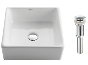 KRAUS-Square Ceramic Vessel Bathroom Sink in White with Pop Up Drain in Chrome