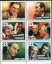 1999 33c Broadway Songwriters, Block of 6 Scott 3345-50 Mint F/VF NH