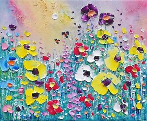 Pastel Meadow Flowers in Love, an original oil painting on canvas, by Phil Broad
