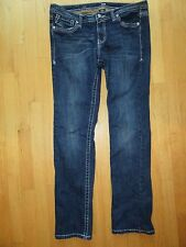 6Q/A.N.A. STRAIGHT JEANS/THICK STITCH/BLING/SIZE 32/14/DARK WASH!