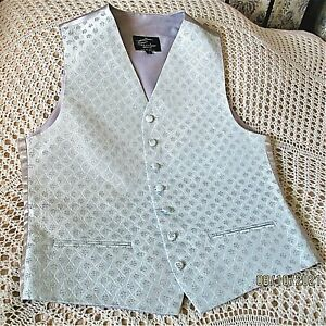 Mans wedding waistcoat by PISCADOR Size 41-42 chest Pale turquoise Cream Sparkle