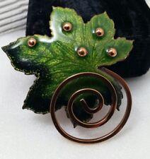 Vintage Renoir Matisse Mix Of Greens Enamel Leaf Copper Pin Brooch - Pristine