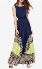 $498 BCBG Charlotte Midnight Blue Print-Blocked Pleated Dress XS 2 4 6 S Small