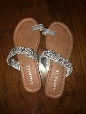 NWOB Rampage Beaded Silver Thong Flip Flop Sandals Size 8 K162