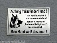 Achtung freilaufender Hund,Hundeschild,Gravurschild,12 x 8 cm,Silber,Schäferhund