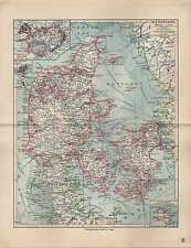Landkarte map 1912: DÄNEMARK. Bornholm. ISLAND. Skandinavien