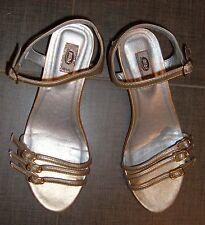 Bibi delicate low heel girls gold leather dressy sandal shoe Eu 35 Br 33 Us 2.5